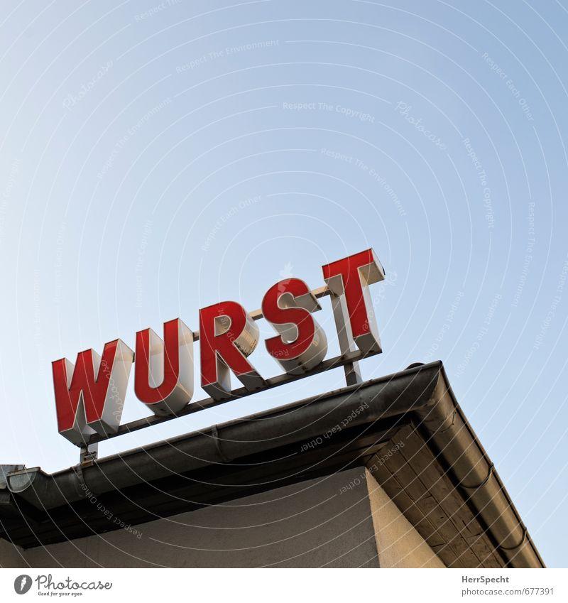 IST MIR DOCH... Lebensmittel Wurstwaren Ernährung Wien Österreich Stadt Fußgängerzone Haus Gebäude Dach Dachrinne Metall Schriftzeichen Sauberkeit blau rot