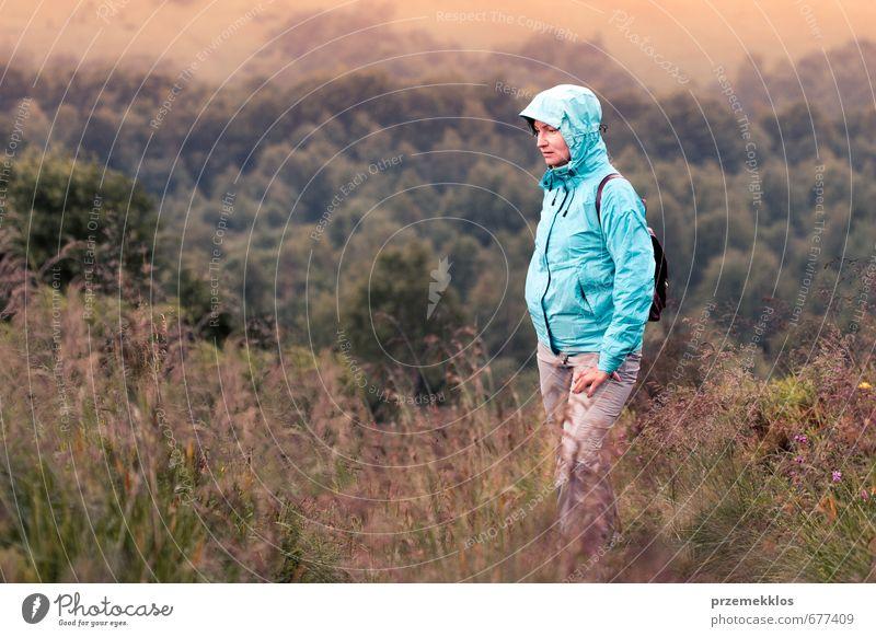 Mensch Frau Natur Jugendliche Ferien & Urlaub & Reisen Baum Landschaft Erwachsene Berge u. Gebirge Gras Zusammensein Nebel stehen wandern Ausflug Klettern