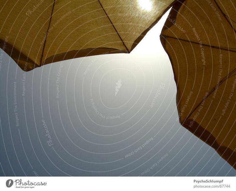 Endlich Schatten Licht Sonnenschirm zuletzt Nachmittag gelb 2 rund eckig Verlauf Strand Schwimmbad Physik kalt Mittag Erwartung kühlen tauchen rechts zweifarbig