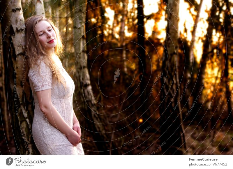 Frühlingserwachen im Wald (I). elegant Stil feminin Junge Frau Jugendliche Erwachsene 1 Mensch 18-30 Jahre Mode Kleid ästhetisch Zufriedenheit Idylle schön Elfe