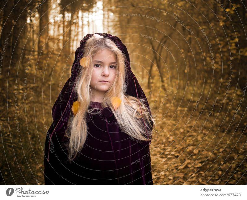 Herbst Mädchen Mensch Kind Körper Kopf Haare & Frisuren Gesicht Auge Nase Mund Lippen 1 3-8 Jahre Kindheit Umwelt Natur Landschaft Sonne Baum Gras Blatt Park