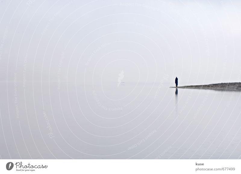 Ruhe im Morgennebel harmonisch Wohlgefühl Zufriedenheit Erholung ruhig Meditation Frau Erwachsene Mann 1 Mensch Landschaft Luft Wasser Wolken Frühling Sommer