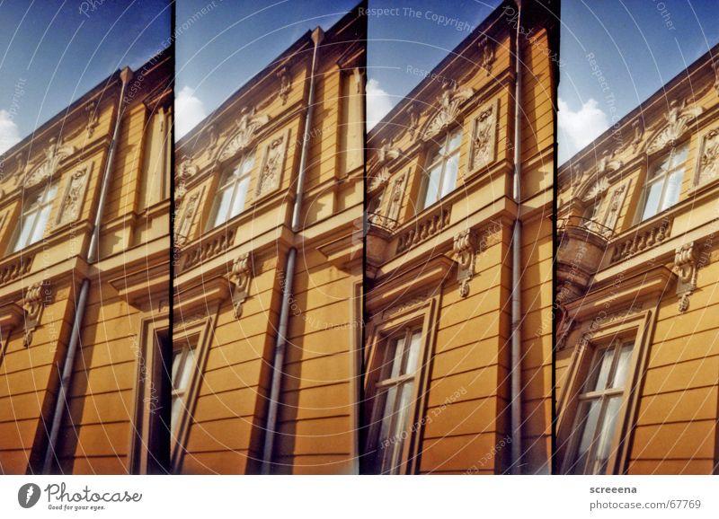 Neversleeper Himmel blau Haus Fenster orange Altbau Potsdam