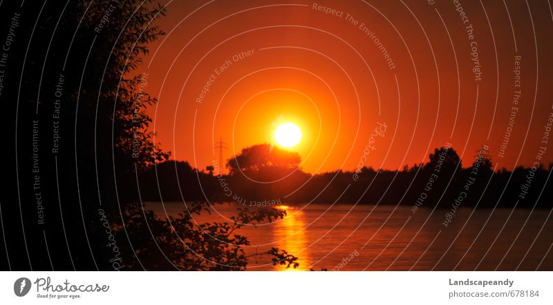 Abendrot Landschaft Himmel Sonne Sonnenaufgang Sonnenuntergang Sonnenlicht Sommer Flussufer Bucht Stimmung Farbfoto Außenaufnahme Menschenleer Dämmerung