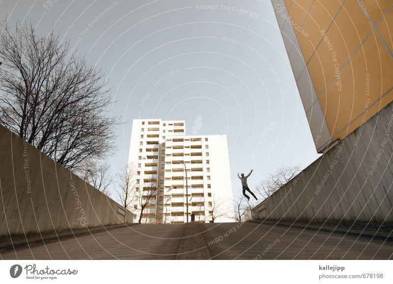 platte mit sprung Mensch Mann Baum Haus Erwachsene Wand Mauer springen maskulin Körper Hochhaus 30-45 Jahre Le Parkour