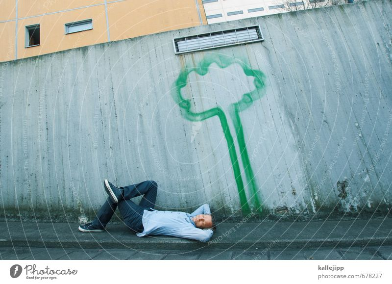 schattiges plätzchen Mensch Natur Mann grün Baum Erholung ruhig Erwachsene Umwelt Graffiti Leben Mauer Glück Gesundheit Garten träumen