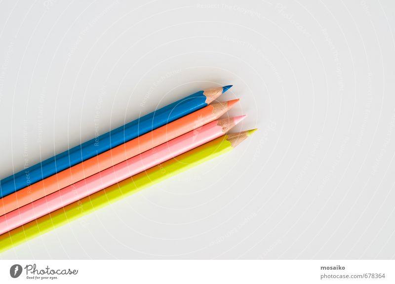 Buntstifte blau Farbe weiß Freude gelb Stil Schule rosa Arbeit & Erwerbstätigkeit orange Lifestyle Büro elegant Design lernen Papier