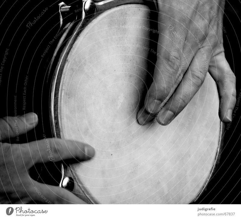 Klang 3 Mann Hand schwarz Gefühle Musik Finger Musikinstrument schlagen Rhythmus Schlaginstrumente