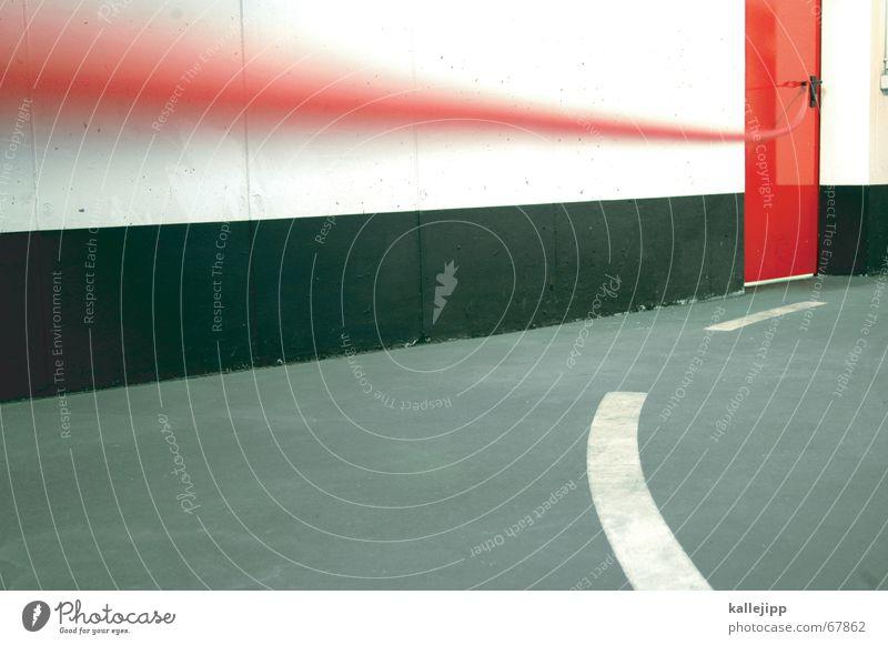 roter faden VII Nähen stricken Orientierung Leitfaden Parkhaus geradeaus Notausgang Nähgarn Kurve ariadne faden Pfeil Straße roter tür Tür kallejipp