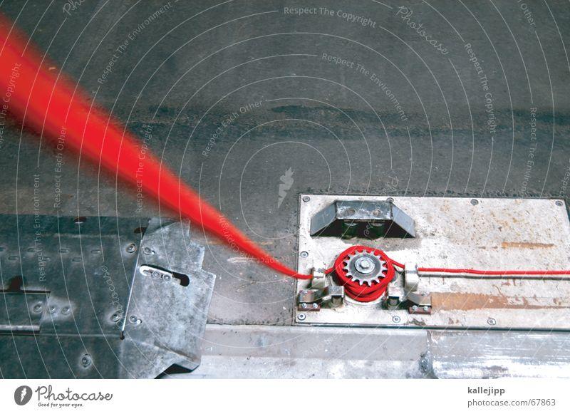 roter faden VIII rot Straße Pfeil Kurve Nähgarn Parkhaus Zahnrad Orientierung Nähen stricken Leitfaden geradeaus Steuerelemente
