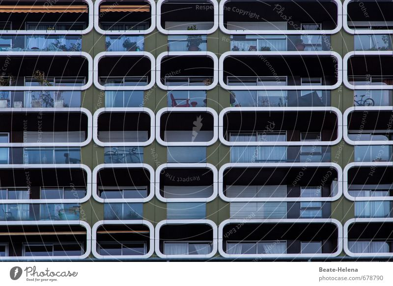 Von Einsichten und Aussichten blau Stadt grün weiß Pflanze Erholung Haus Wand Innenarchitektur Mauer Fassade Wohnung Lifestyle Häusliches Leben Hochhaus