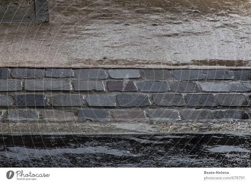 Wetter | die Haut braucht Feuchtigkeit schön Wellness Umwelt schlechtes Wetter Regen Stadt Stadtzentrum Menschenleer Straße Stein Wasser nass Sauberkeit braun