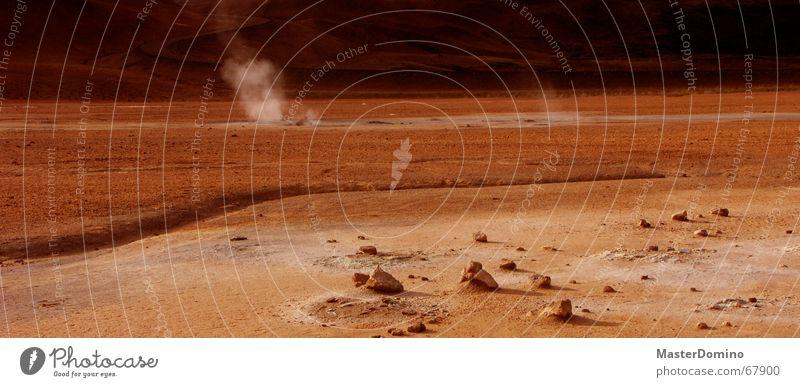 Marsstraße Planet Marslandschaft rot Stein Geröll Schwefel Raumfahrt Außenaufnahme Wüste Weltall Felsen Sand Bruchstück Wasserdampf Rauch lebensfeindlich Himmel