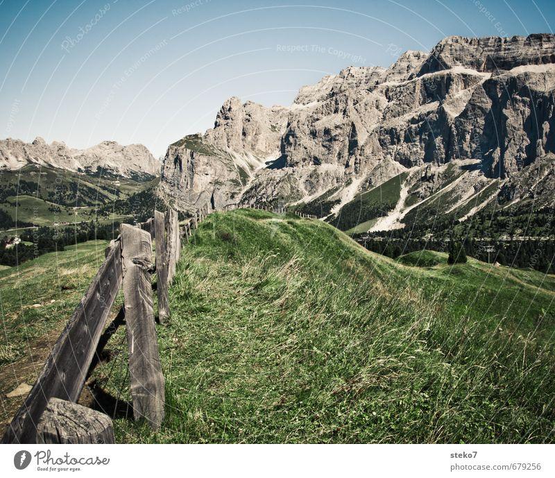 Kuhplanken Sommer Schönes Wetter Gras Alpen Berge u. Gebirge natürlich blau grau grün Ferien & Urlaub & Reisen Dolomiten Weide Zaun Holz Alm Farbfoto