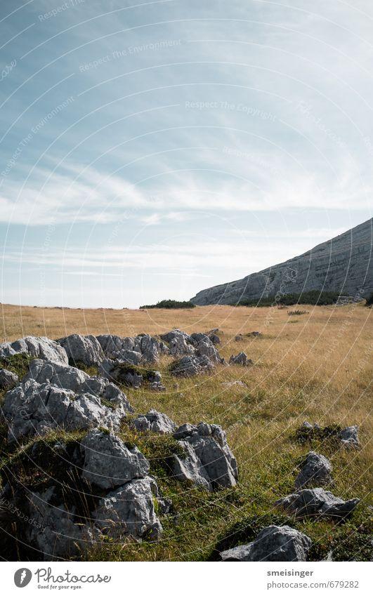Rohan Umwelt Natur Landschaft Himmel Sommer Gras Felsen Alpen Berge u. Gebirge Warschenegg natürlich ruhig friedlich Frieden Grasland grün blau grau Stein