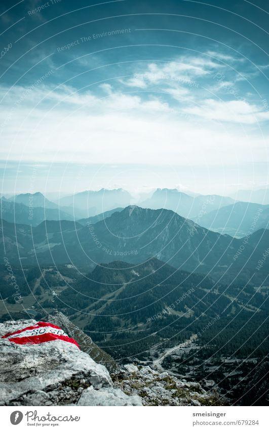 Berg Freizeit & Hobby Berge u. Gebirge wandern Natur Landschaft Himmel Wolken Sommer Alpen Warschenegg Gipfel Stein beobachten Blick Unendlichkeit hoch blau