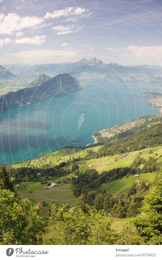 Idylle IV Himmel Natur Wasser Pflanze Sommer Sonne Baum Landschaft Wolken Ferne Wald Berge u. Gebirge Umwelt Wärme Wiese Gras