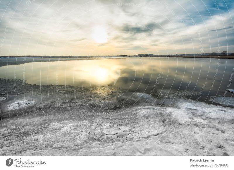 Winterzeit Umwelt Natur Landschaft Urelemente Luft Wasser Himmel Wolken Sonne Klimawandel Wetter Schönes Wetter Wind Eis Frost Schnee Küste Strand Meer