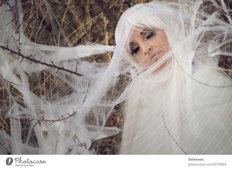 sleeping moth Mensch Frau Natur weiß Tier Gesicht Erwachsene Umwelt feminin Frühling Haare & Frisuren Sträucher schlafen langhaarig Motte Perücke