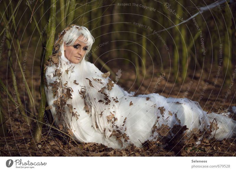 Winterschlaf Frau Mensch Natur Blatt Erwachsene Umwelt Herbst feminin langhaarig Raupe Perücke weißhaarig