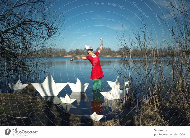Ahoi Wochenende Tourismus Ausflug Abenteuer Ferne Freiheit Mensch feminin Frau Erwachsene 1 18-30 Jahre Jugendliche Umwelt Natur Landschaft Wasser Himmel