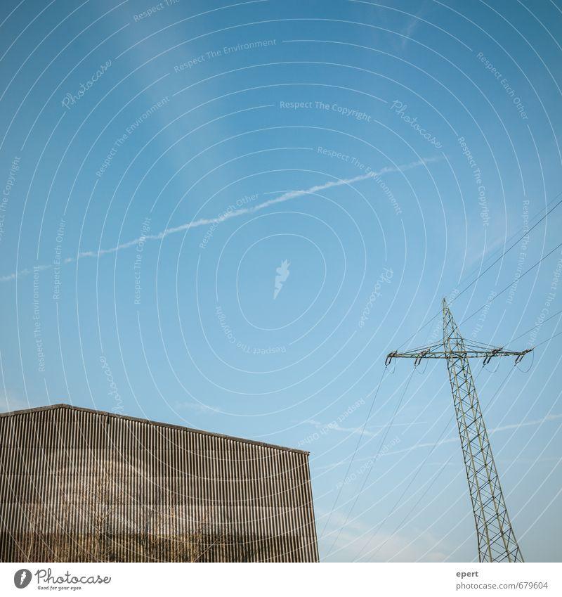 ut ruhrgebiet | Spannung steigt Haus trist Energiewirtschaft hoch Technik & Technologie Fabrik eckig Strommast Industrieanlage Hochspannungsleitung
