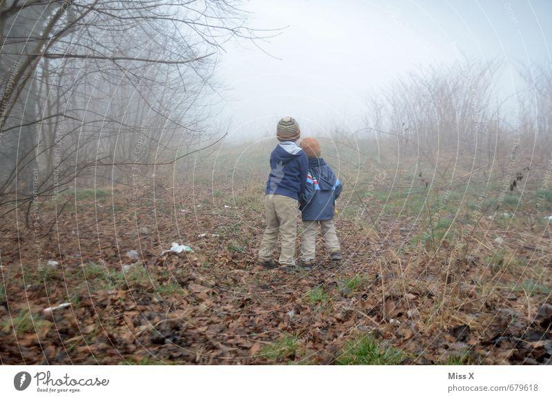 Zwei im Nebel / Danach war die Kamera hin... :-( Ausflug Abenteuer Mensch Kind Geschwister Freundschaft 2 1-3 Jahre Kleinkind 3-8 Jahre Kindheit Natur Herbst