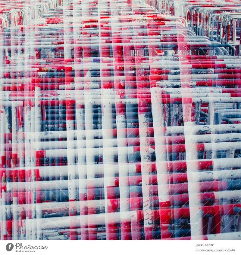 Gitter Skulptur Sammlung Metall Hinweisschild Warnschild Linie Netzwerk außergewöhnlich lang viele verrückt rot weiß Sicherheit Schutz standhaft gereizt