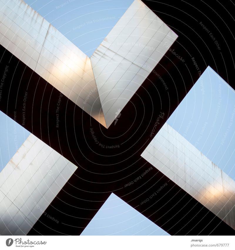 Oben elegant Stil Design Wolkenloser Himmel Bauwerk Architektur Pfeil Streifen außergewöhnlich Coolness modern oben blau grau schwarz Perspektive Surrealismus