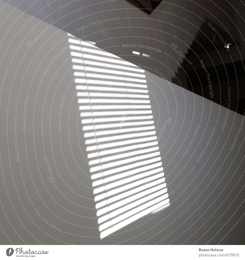 Auf der Schattenseite Haus Mauer Wand Fenster leuchten schwarz weiß Coolness Zickzack Streifen Lichtstreifen Schattenspiel Muster Jalousie Lichteinfall