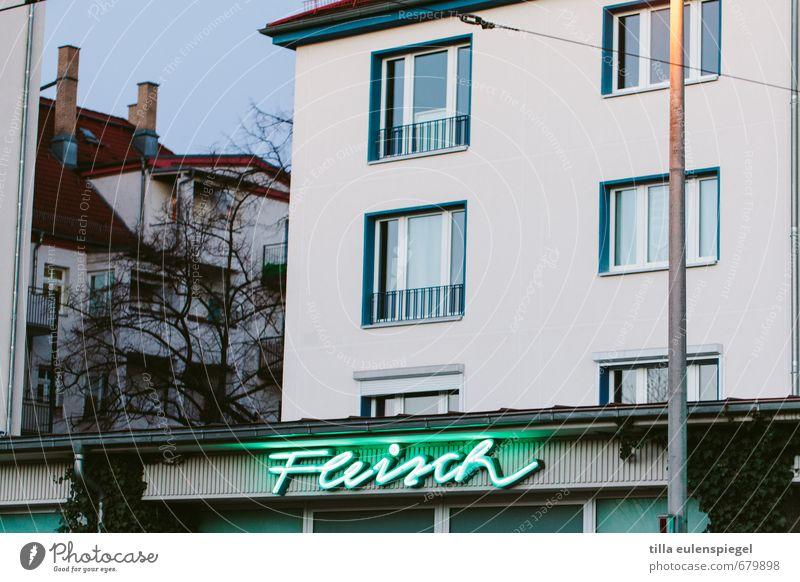 fleisch kaufen Haus Kabel Gebäude Fassade Fenster Schriftzeichen leuchten Kommunizieren Werbung Wort Leuchtreklame Neonlicht Neonlampe Metzger Mast Farbfoto