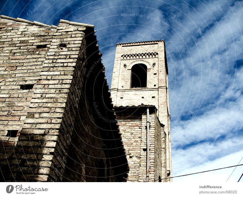 Bell Tower Himmel church building medieval town clouds sky historycal Denkmal