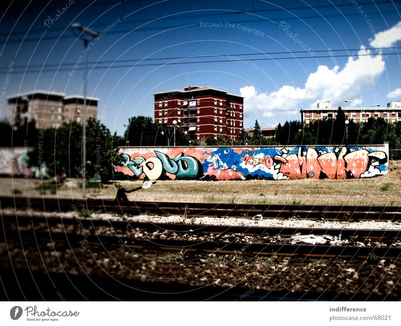 Urban Design 2 Himmel Stadt street building Graffiti railway sky clouds