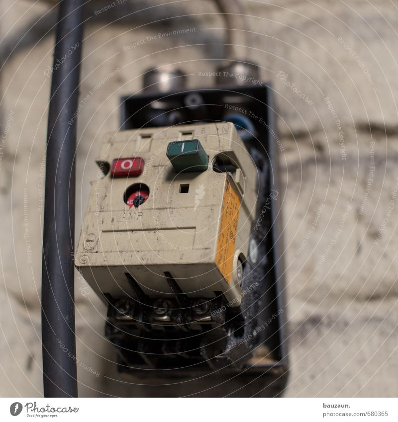 ut ruhrgebiet | aus. Arbeitsplatz Industrie Energiewirtschaft Kabel Technik & Technologie Mauer Wand Schalter Stein Metall Kunststoff Zeichen Ziffern & Zahlen