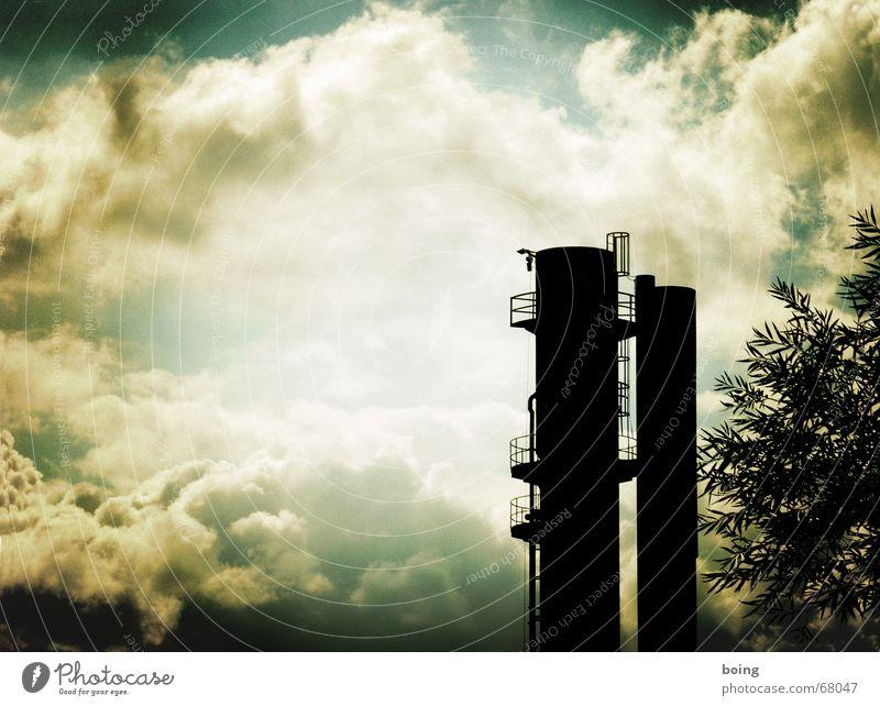blow up your mind unit / schade, schon gedroschen Turm Eisenrohr Röhren blasen Kumulus Schornstein Feinstaub Partikelfilter Kohlendioxid Abgas