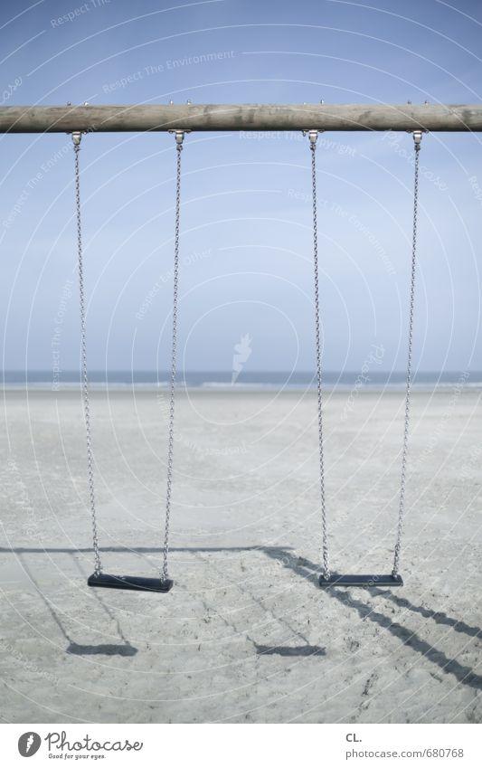 schaukel Spielen Ferien & Urlaub & Reisen Tourismus Umwelt Natur Landschaft Sand Himmel Schönes Wetter Küste Strand Nordsee Meer Insel ruhig Sehnsucht