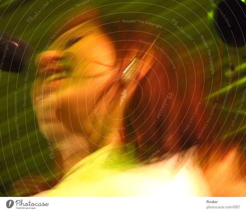 Rhythmus Frau Schnur Club Neonlicht Sänger Rhythmus