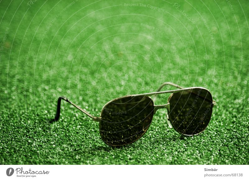 Oldie Sommer Fälschung Oldtimer Brille Sonnenbrille grün Wiese braun dunkel glasses sunglasses lawn meadow protect protection brown dark synthetic syntesis