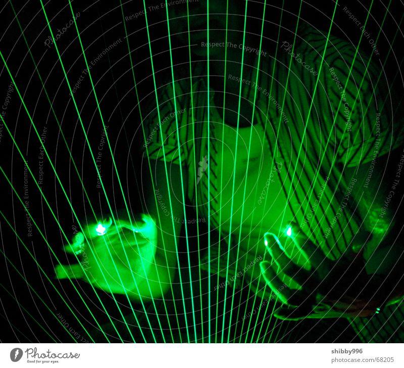Laser-Harfe grün Lampe Musik träumen Beleuchtung Industriefotografie Laser