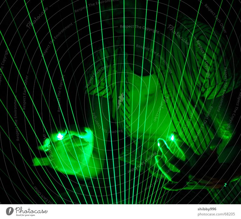 Laser-Harfe grün Lampe Musik träumen Beleuchtung Industriefotografie