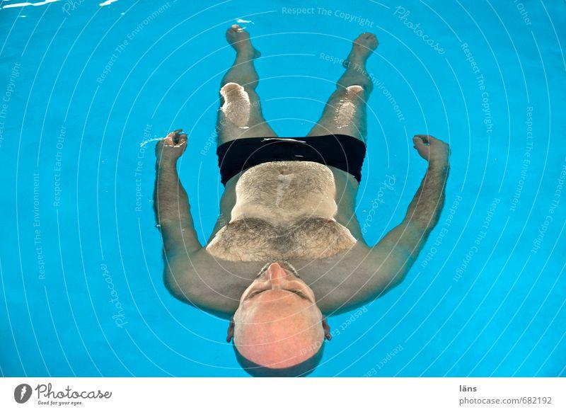 Freischwimmer Mensch Mann Erholung ruhig Erwachsene Leben Gefühle Schwimmen & Baden Gesundheit Stimmung träumen liegen maskulin Zufriedenheit 45-60 Jahre nass