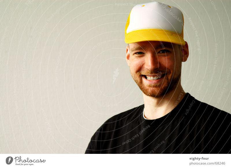 martin 3 weiß Wand lachen Kopf T-Shirt Bart Hut grinsen Baseballmütze
