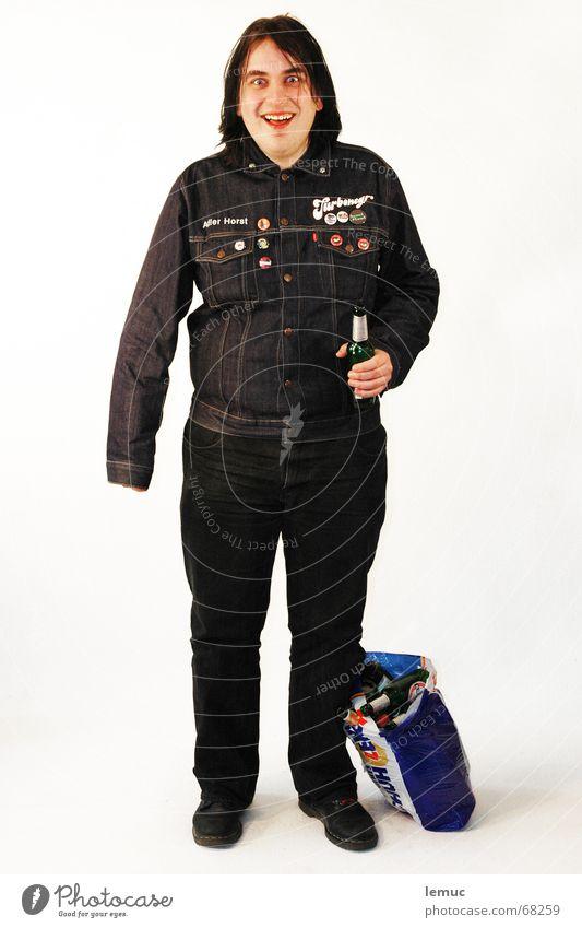 the hilk Mensch Mann blau schwarz trinken Alkoholisiert Punk unordentlich unsozial Asozialer Hohlkehle Vor hellem Hintergrund