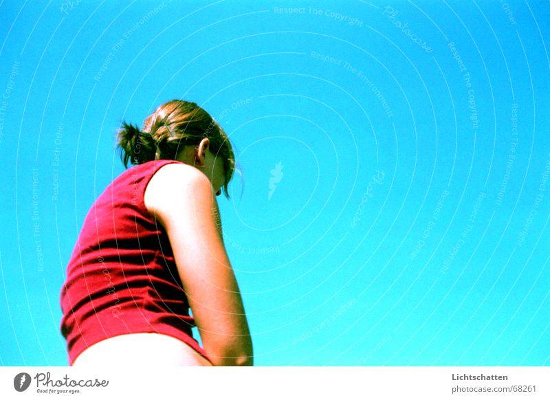 somewhere in the blue, blue sky Frau Himmel blau Denken Luft Aussehen