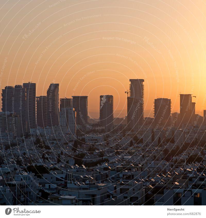 Boker tov, Tel Aviv Himmel Wolkenloser Himmel Schönes Wetter Israel Stadt Stadtzentrum Skyline Haus Hochhaus Architektur Fassade Balkon Dach grau orange Morgen