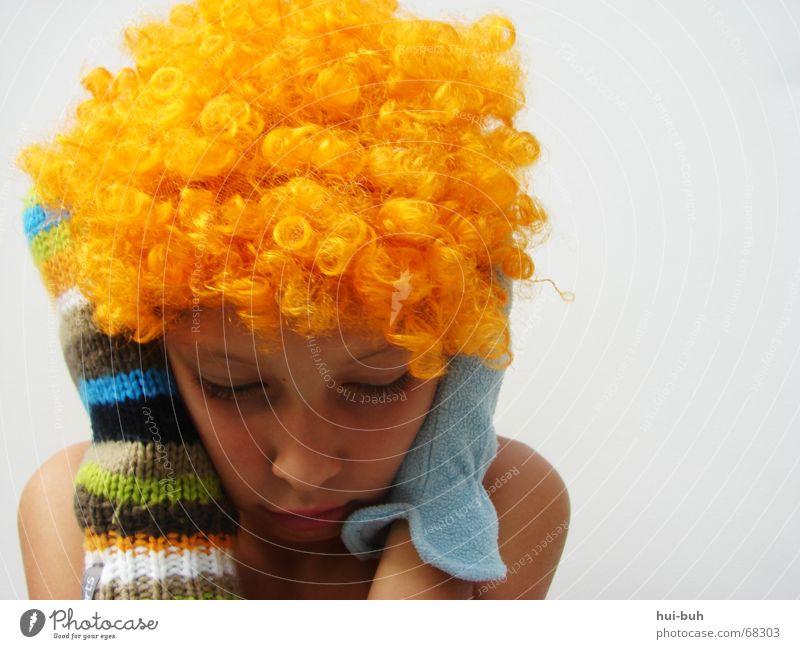 lautlos- der clown eins Perücke gelb Handschuhe mehrfarbig gestrickt weiß schlafen ruhig Finger Wimpern unten Haare & Frisuren orange glove blau Ohr