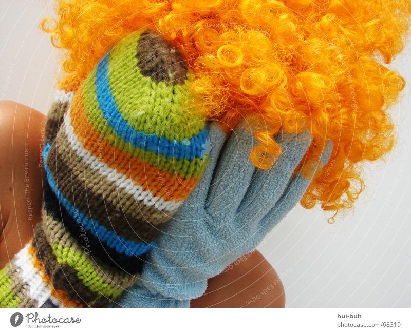 buh- der clown vier weiß Freude Haare & Frisuren 2 Finger geschlossen 5 Seite Abschied Schulter Witz Handschuhe gestreift stricken Perücke Guten Tag