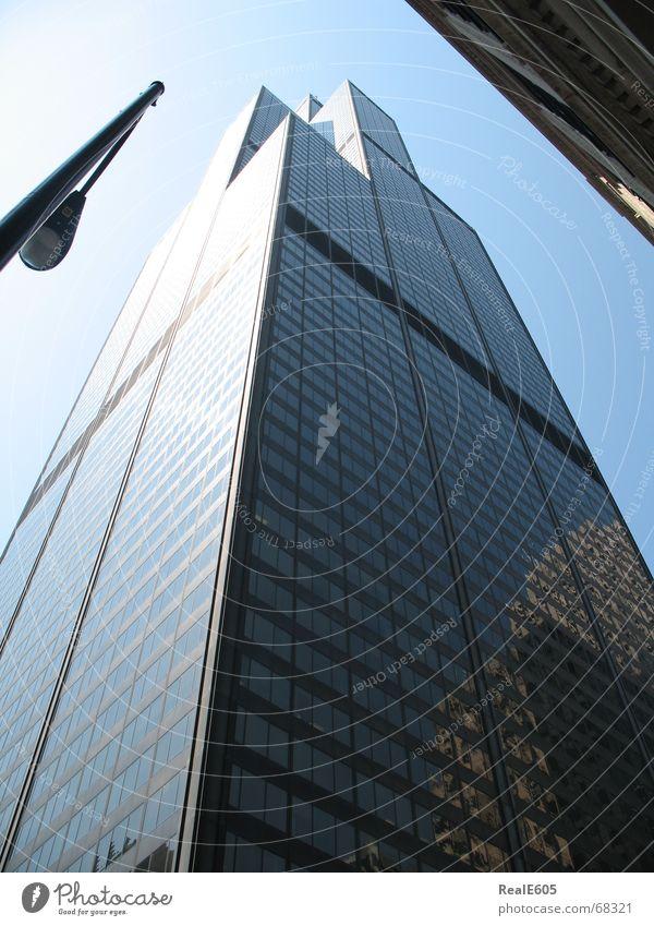 SearsTower1 schwarz Glas Hochhaus hoch Stadtzentrum Illinois