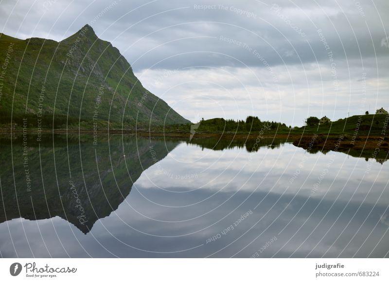 Lofoten Umwelt Natur Landschaft Urelemente Wasser Himmel Wolken Klima Felsen Fjord kalt natürlich wild Einsamkeit Idylle ruhig stagnierend Norwegen Farbfoto
