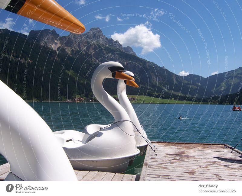 Schwanensee Sonne Sommer Berge u. Gebirge See Steg Österreich Klassik Tretboot